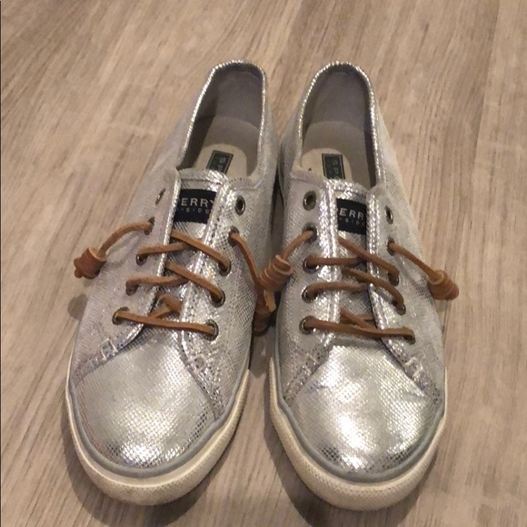Top Sider Silver Sneakers Sz
